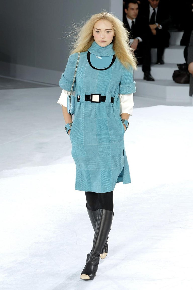 Chanel by Karl Lagerfeld black knee high boots with cut outs and cream toe cap.  Fall-Winter 2007  Size 41