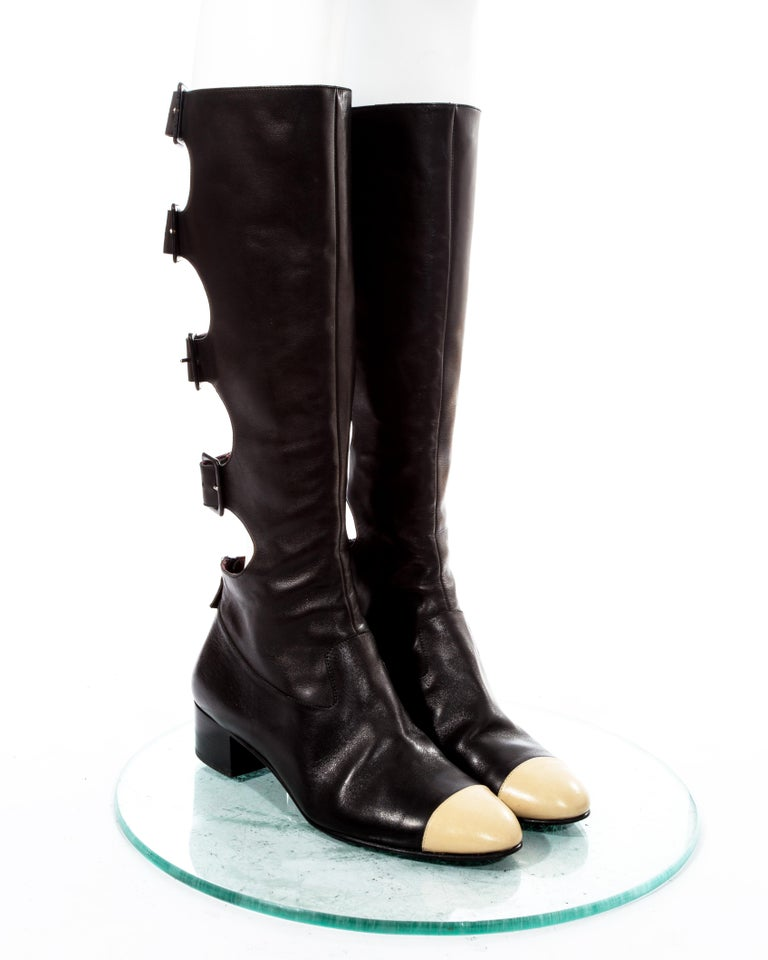 Black Chanel by Karl Lagerfeld black knee high boots with cut outs, fw 2007 For Sale