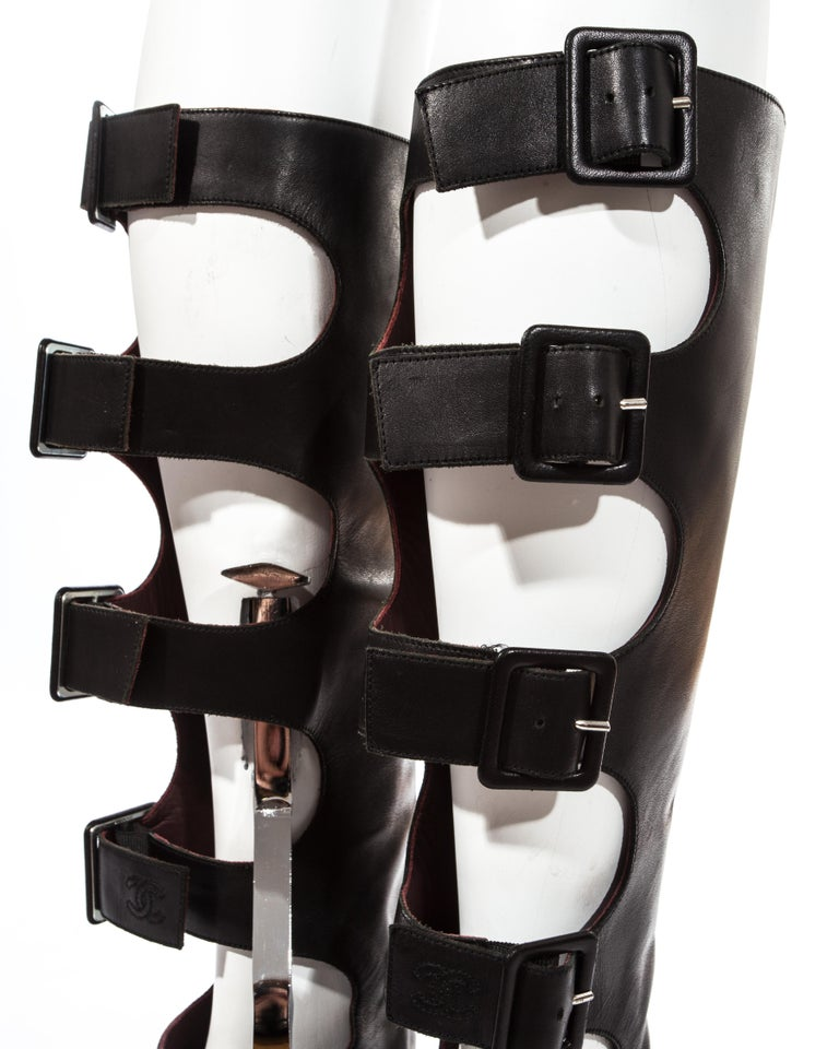 Chanel by Karl Lagerfeld black knee high boots with cut outs, fw 2007 In Good Condition For Sale In London, GB