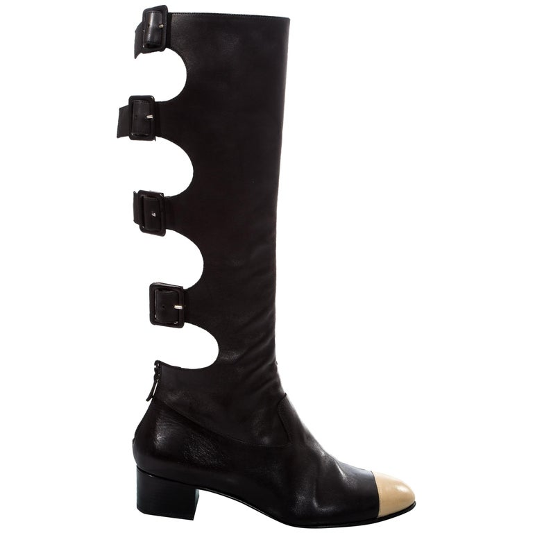 Chanel by Karl Lagerfeld black knee high boots with cut outs, fw 2007 For Sale
