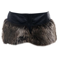 Chanel by Karl Lagerfeld black leather and brown faux fur hot pants, fw 2010