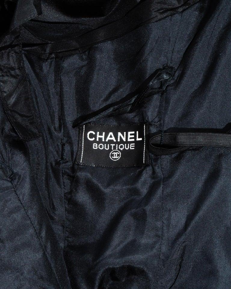 Chanel by Karl Lagerfeld black silk taffeta pleated evening dress, ss 1986 For Sale 6