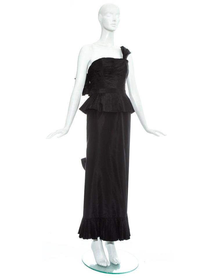 Black Chanel by Karl Lagerfeld black silk taffeta pleated evening dress, ss 1986 For Sale