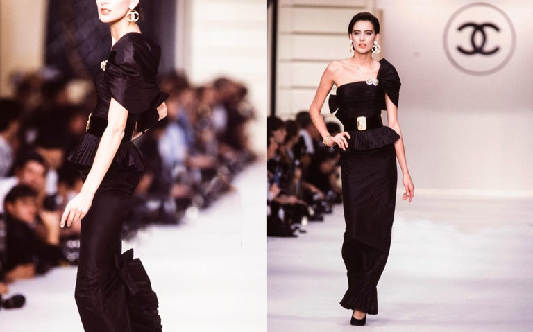 Chanel by Karl Lagerfeld black silk taffeta pleated evening dress, ss 1986 In Good Condition For Sale In London, GB