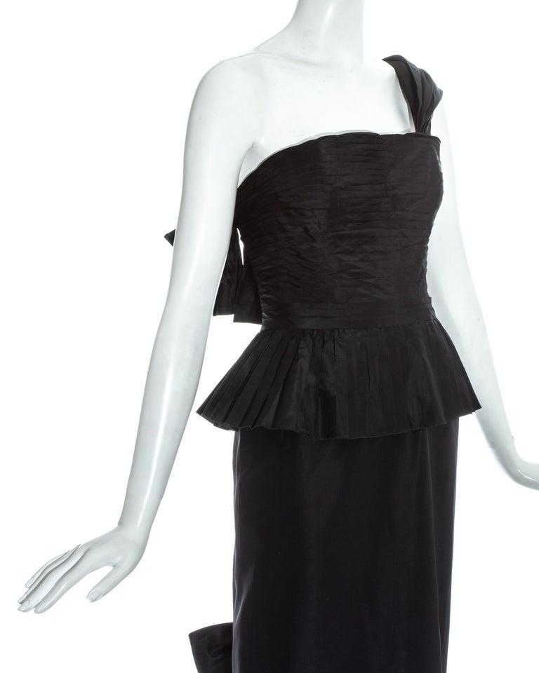 Women's Chanel by Karl Lagerfeld black silk taffeta pleated evening dress, ss 1986 For Sale
