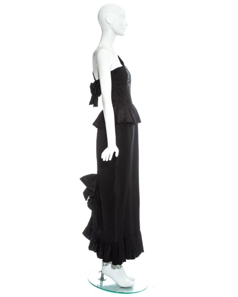 Chanel by Karl Lagerfeld black silk taffeta pleated evening dress, ss 1986 For Sale 2