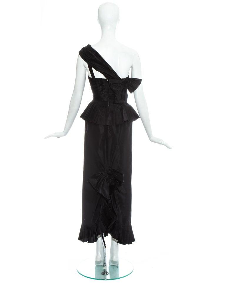 Chanel by Karl Lagerfeld black silk taffeta pleated evening dress, ss 1986 For Sale 3