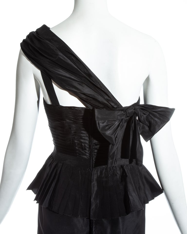 Chanel by Karl Lagerfeld black silk taffeta pleated evening dress, ss 1986 For Sale 4