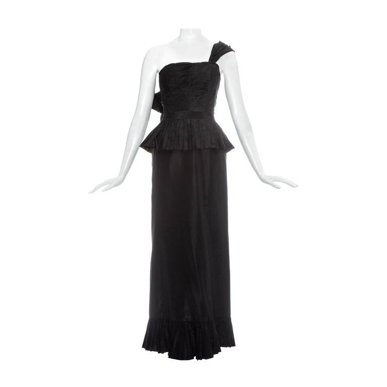 Chanel by Karl Lagerfeld black silk taffeta pleated evening dress, ss 1986 For Sale