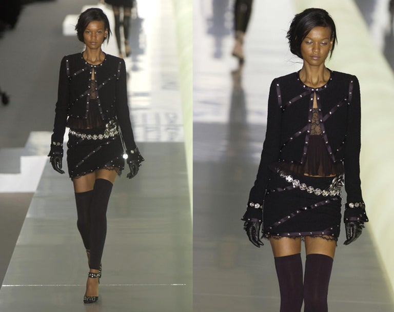 Black Chanel by Karl Lagerfeld black studded 3 piece skirt suit, A/W 2003 For Sale