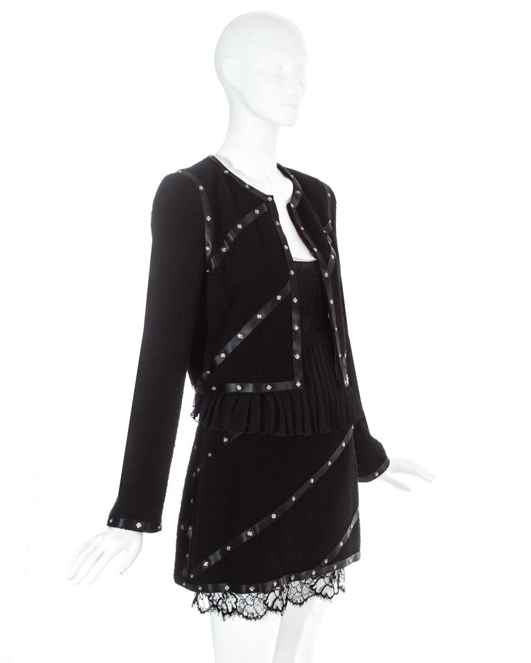 Chanel by Karl Lagerfeld black studded 3 piece skirt suit, A/W 2003 In Excellent Condition For Sale In London, GB