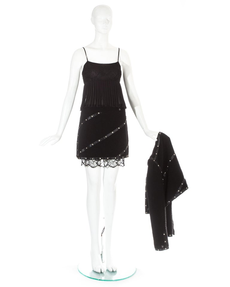 Women's Chanel by Karl Lagerfeld black studded 3 piece skirt suit, A/W 2003 For Sale