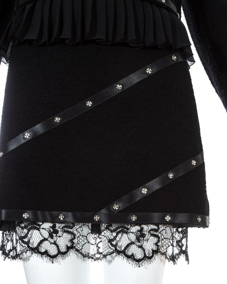 Chanel by Karl Lagerfeld black studded 3 piece skirt suit, A/W 2003 For Sale 1