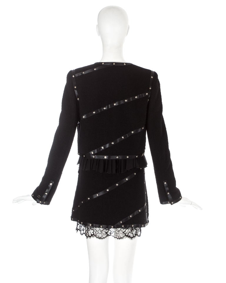 Chanel by Karl Lagerfeld black studded 3 piece skirt suit, A/W 2003 For Sale 2