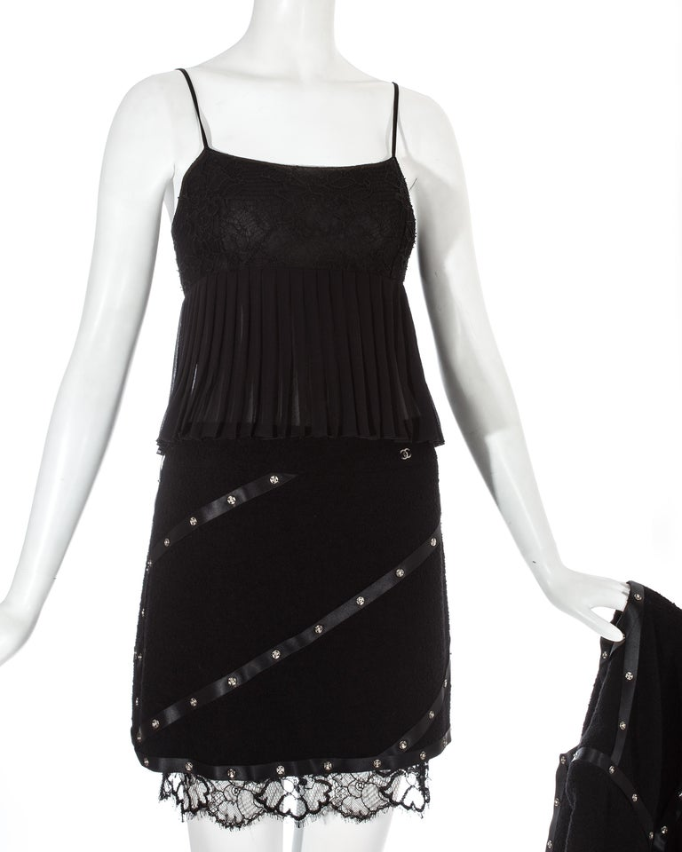 Chanel by Karl Lagerfeld black studded 3 piece skirt suit, A/W 2003 For Sale 3