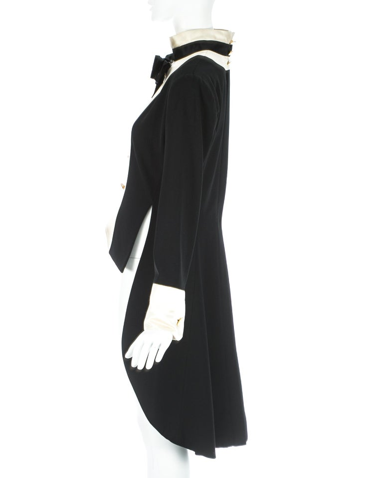 Women's Chanel by Karl Lagerfeld black wool and silk evening tail coat / dress, c. 1980s