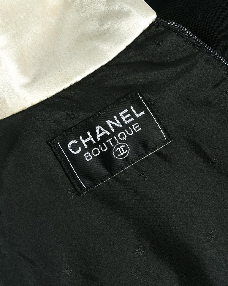 Chanel by Karl Lagerfeld black wool and silk evening tail coat / dress, c. 1980s 2