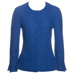 Chanel by Karl Lagerfeld blue boiled wool fitted jacket, fw 1999