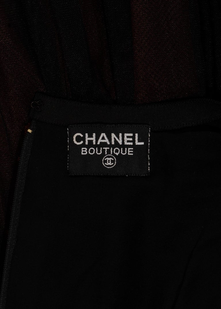 Chanel by Karl Lagerfeld brown and black tweed and tulle sequin dress, fw 1991 For Sale 5