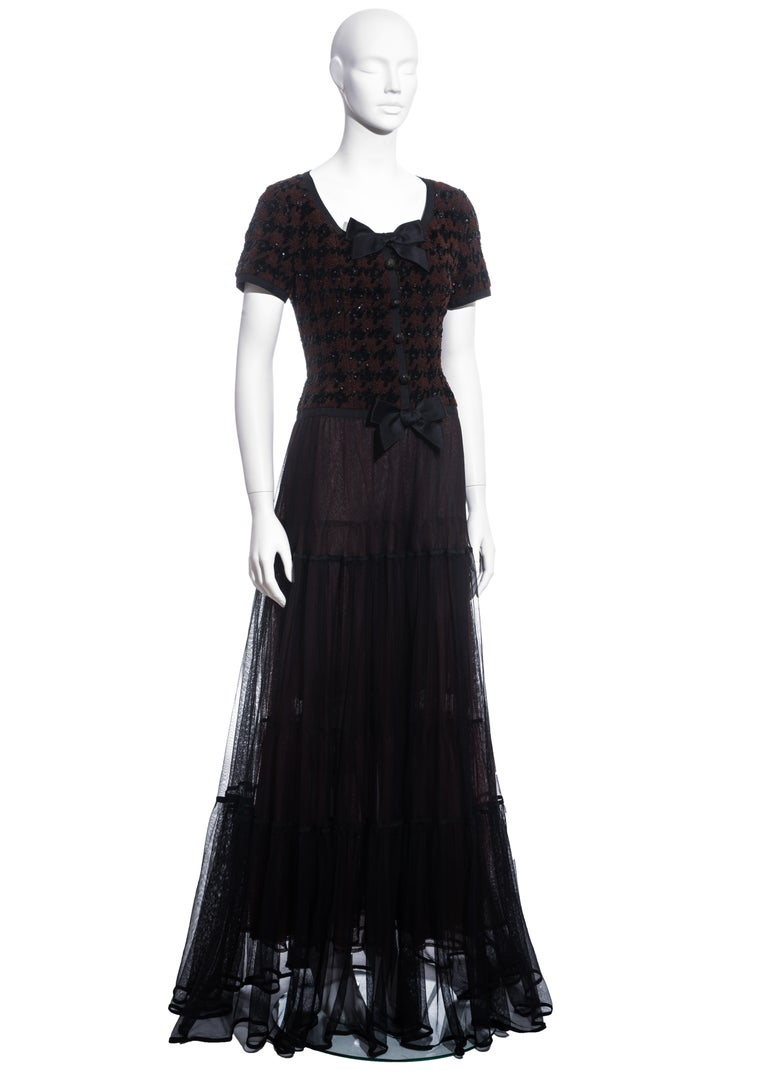 Chanel by Karl Lagerfeld brown and black tweed and tulle sequin dress, fw 1991 In Excellent Condition For Sale In London, GB