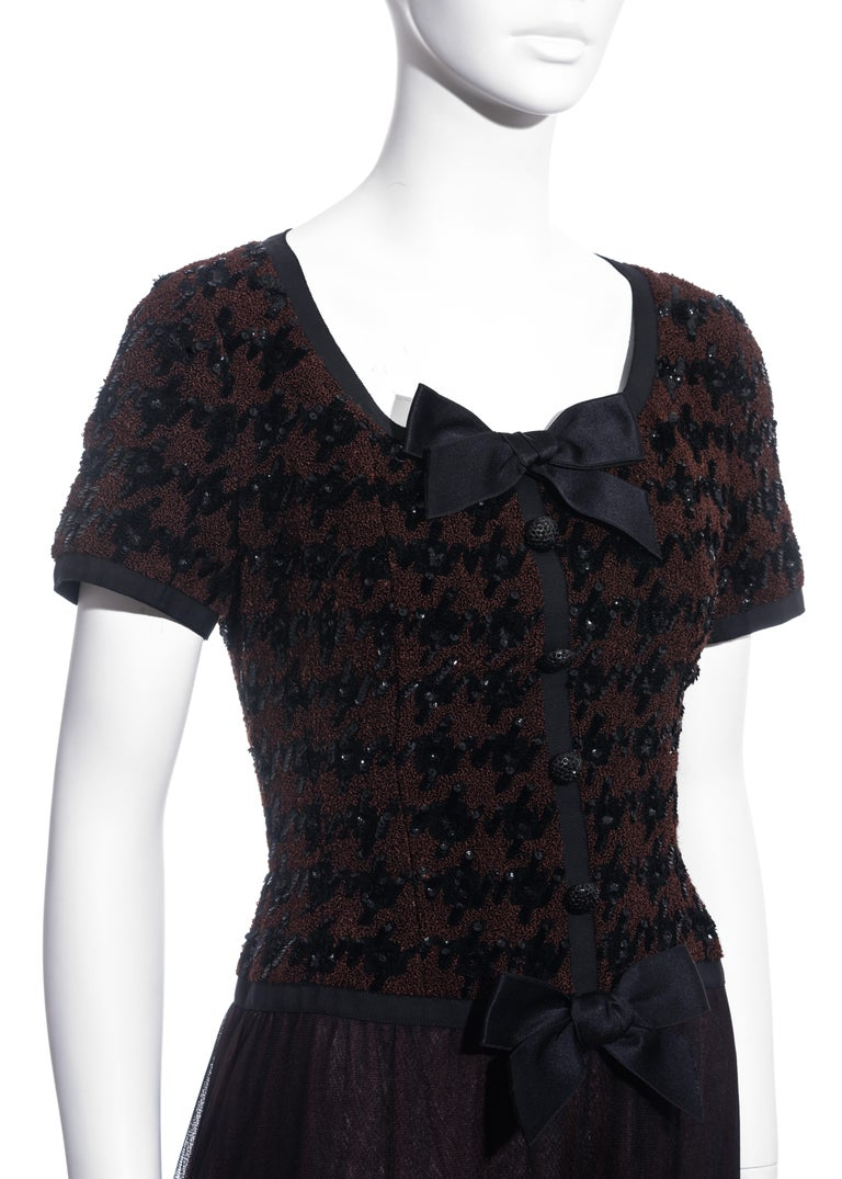 Women's Chanel by Karl Lagerfeld brown and black tweed and tulle sequin dress, fw 1991 For Sale