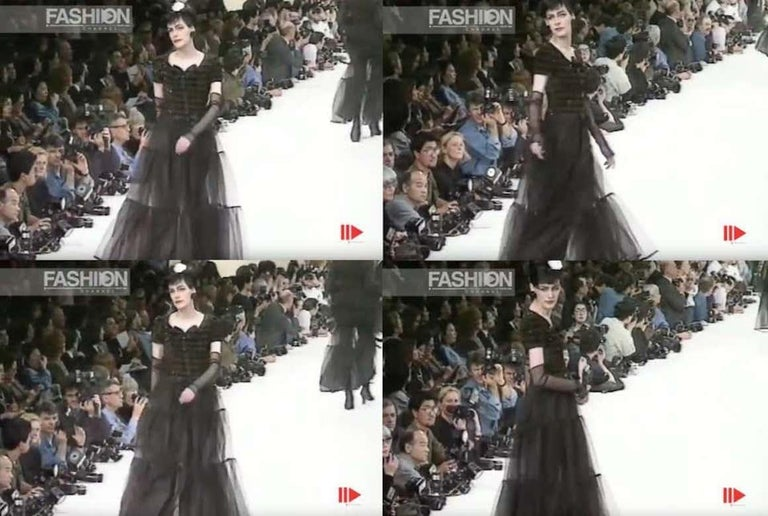 Chanel by Karl Lagerfeld brown and black tweed and tulle sequin dress, fw 1991 For Sale 1