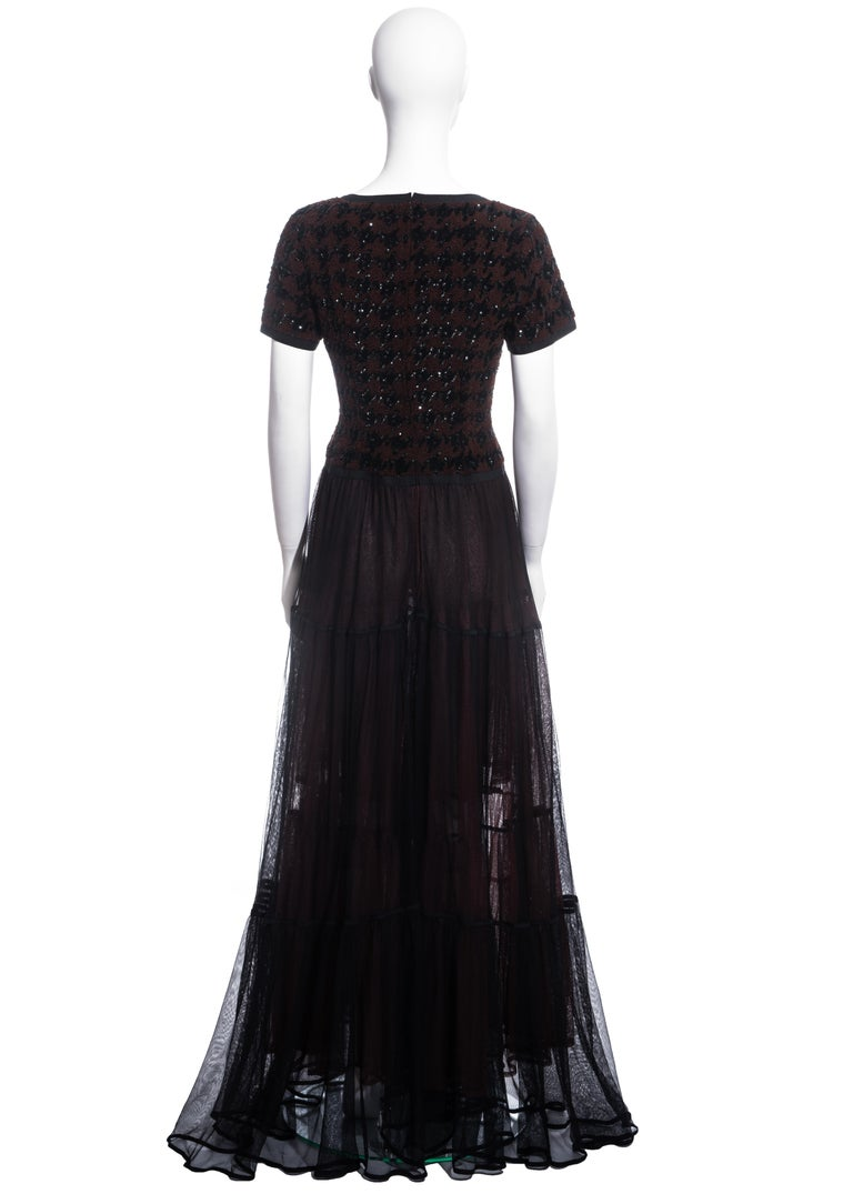 Chanel by Karl Lagerfeld brown and black tweed and tulle sequin dress, fw 1991 For Sale 3