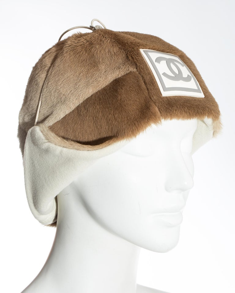 Chanel by Karl Lagerfeld fawn fur trapper hat, fw 2001 In Good Condition For Sale In London, GB