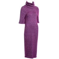 Chanel by Karl Lagerfeld fuchsia mohair silk turtle-neck sweater dress, fw 2015