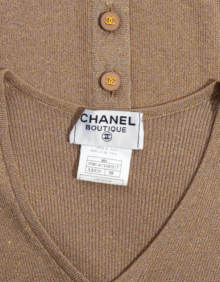 Chanel by Karl Lagerfeld gold lurex t-shirt dress, fw 1996 For Sale 5