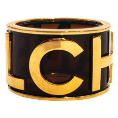 Chanel by Karl Lagerfeld gold plated lucite bangle bracelet, ss 1990