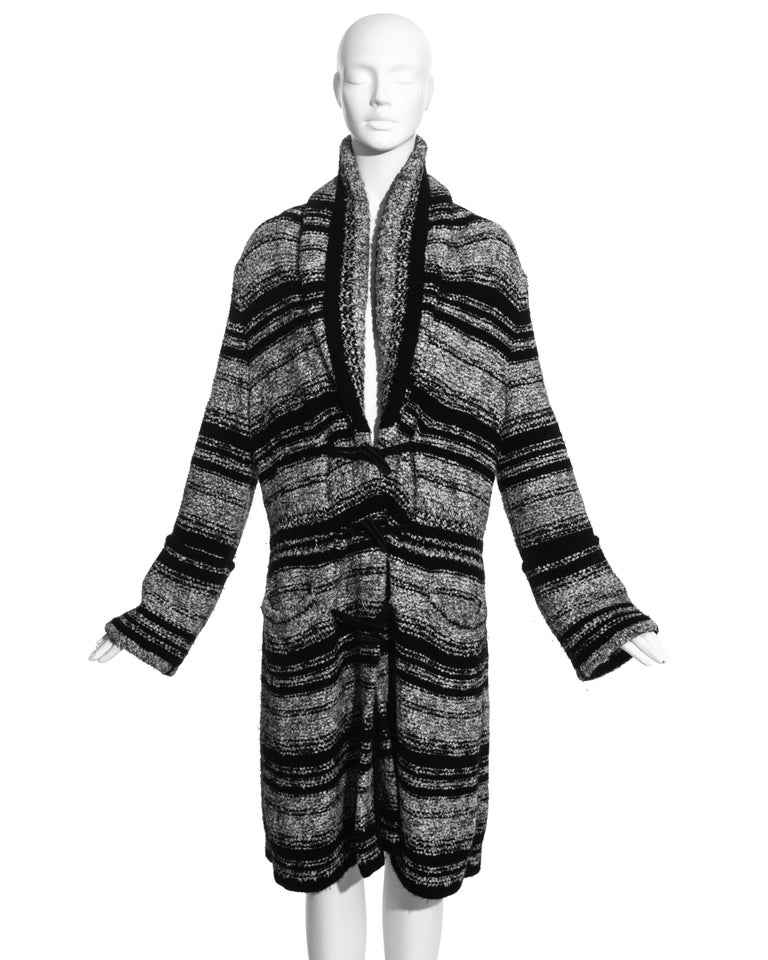 Chanel by Karl Lagerfeld grey and black bouclé wool striped cardigan with shawl lapel and horn toggle fastenings.  Fall-Winter 2006