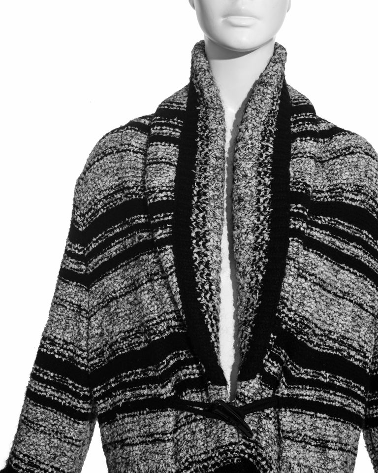 Black Chanel by Karl Lagerfeld grey and black bouclé wool striped cardigan, fw 2006 For Sale