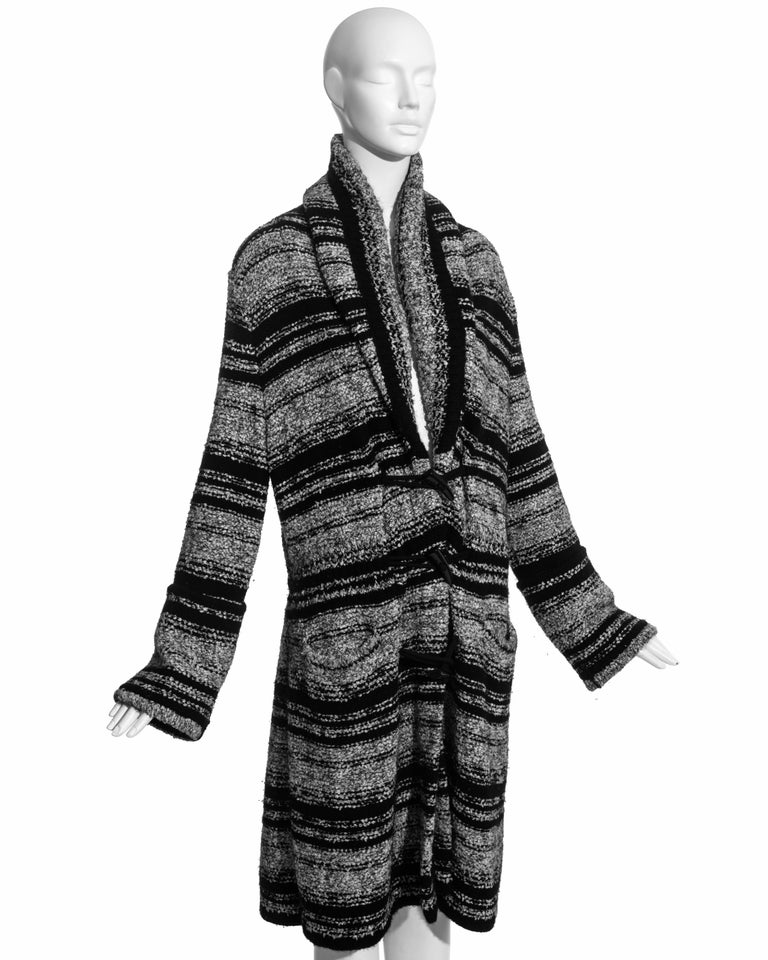 Chanel by Karl Lagerfeld grey and black bouclé wool striped cardigan, fw 2006 In Excellent Condition For Sale In London, GB