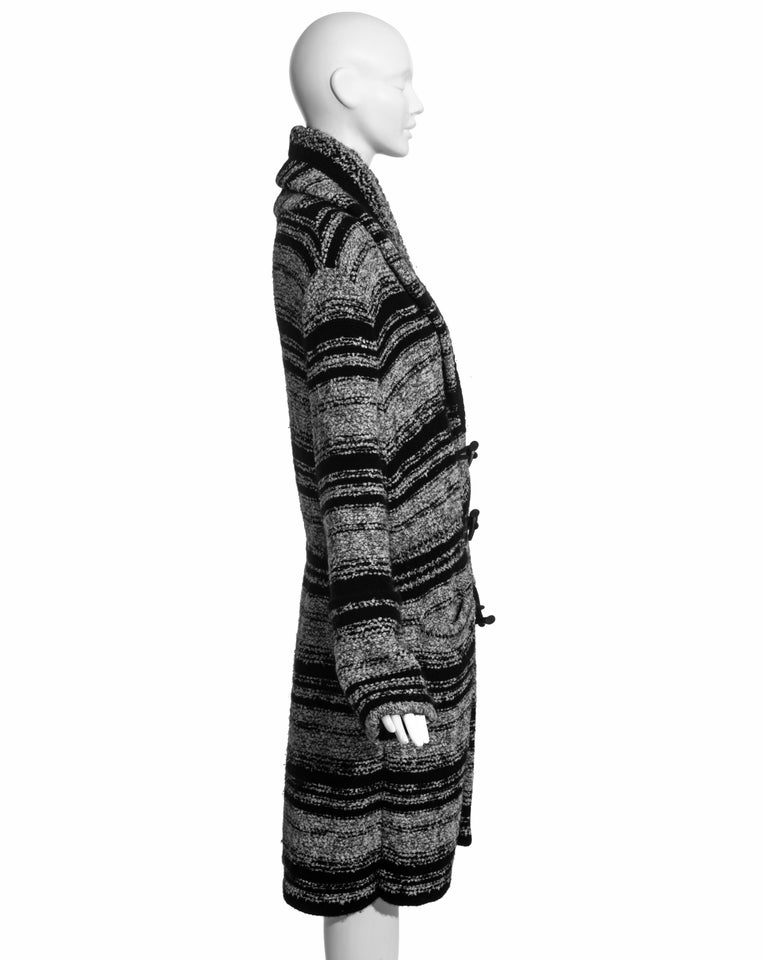Chanel by Karl Lagerfeld grey and black bouclé wool striped cardigan, fw 2006 For Sale 1