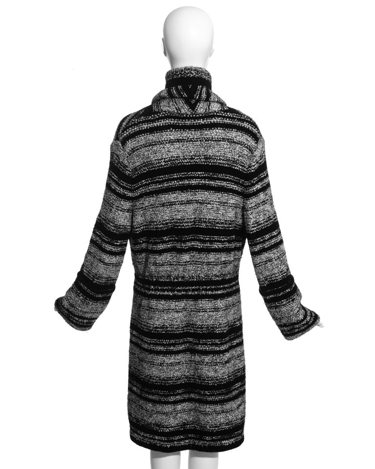 Chanel by Karl Lagerfeld grey and black bouclé wool striped cardigan, fw 2006 For Sale 2