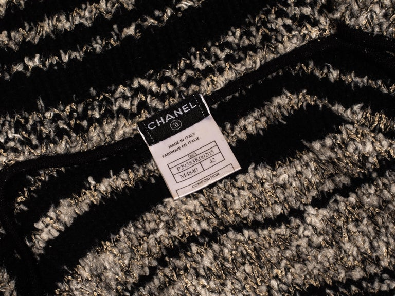 Chanel by Karl Lagerfeld grey and black bouclé wool striped cardigan, fw 2006 For Sale 3