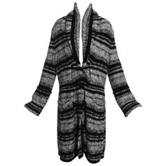 Chanel by Karl Lagerfeld grey and black bouclé wool striped cardigan, fw 2006