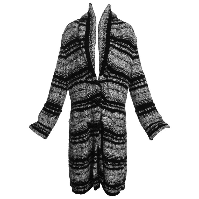 Chanel by Karl Lagerfeld grey and black bouclé wool striped cardigan, fw 2006 For Sale