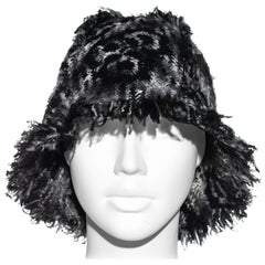 Chanel by Karl Lagerfeld grey wool tweed bucket hat, fw 2005