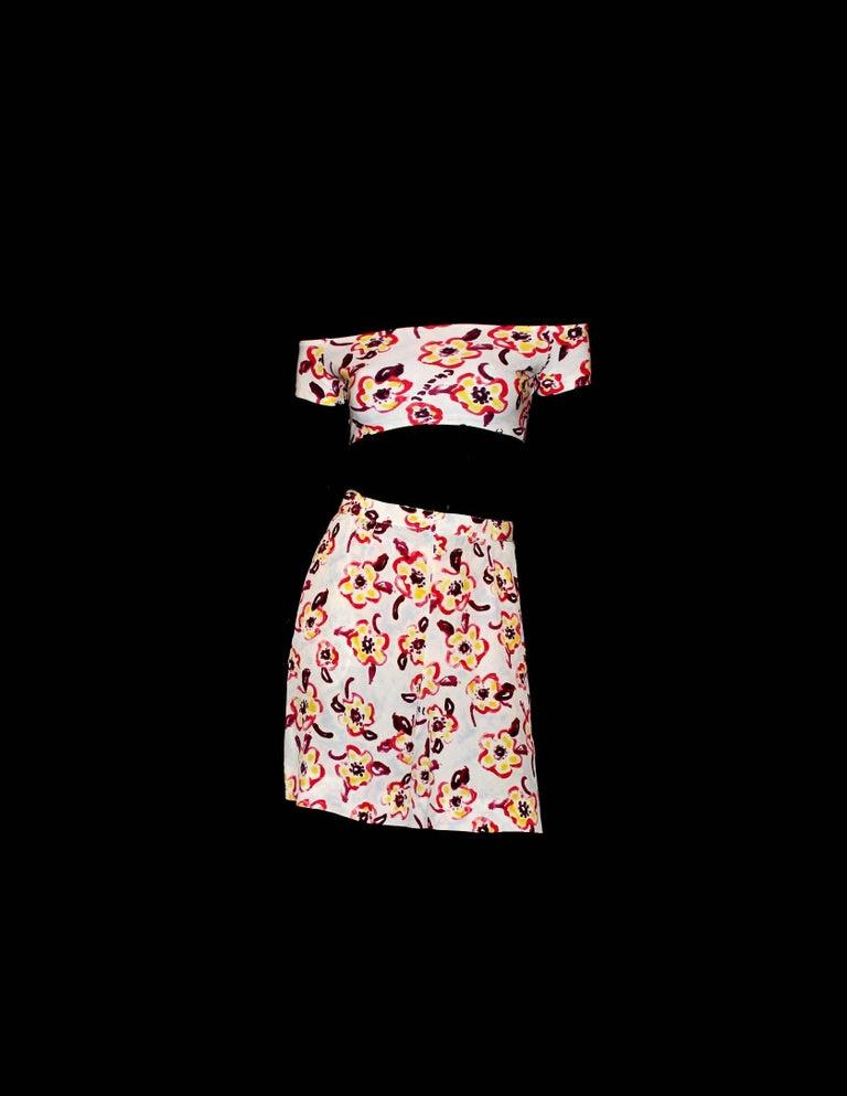 Beige Chanel by Karl Lagerfeld Logo Print Shorts Top Hot Pants Swim Suit Set Ensemble For Sale