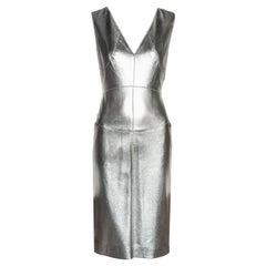 Chanel by Karl Lagerfeld metallic silver leather sheath dress, fw 1999