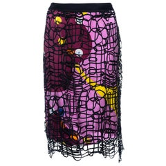 Chanel by Karl Lagerfeld multicoloured silk skirt with ribbon overlay, ss 2000