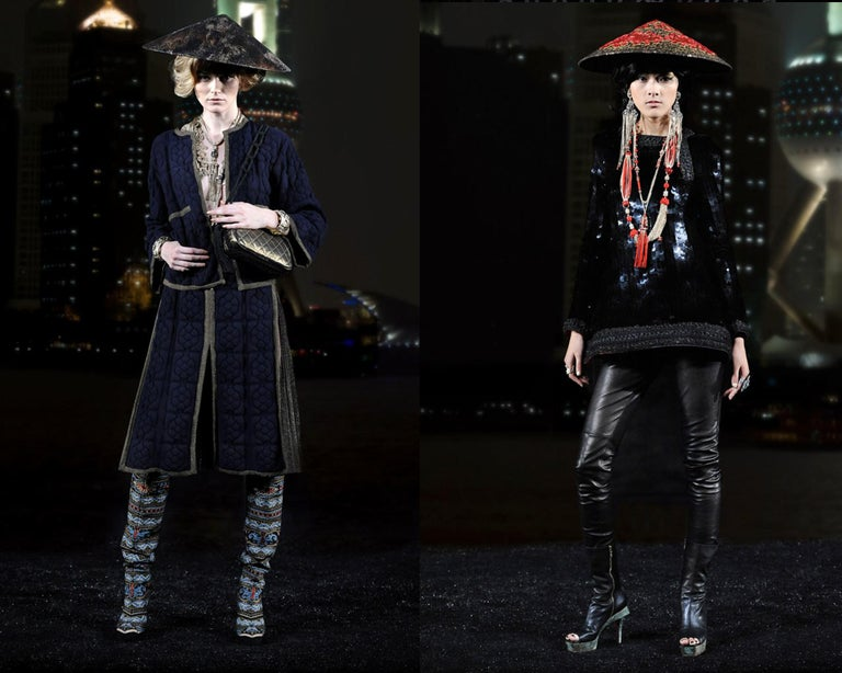 Gray Chanel by Karl Lagerfeld, 'Paris-Shangai' bronze sequin conical hat, pf 2010 For Sale