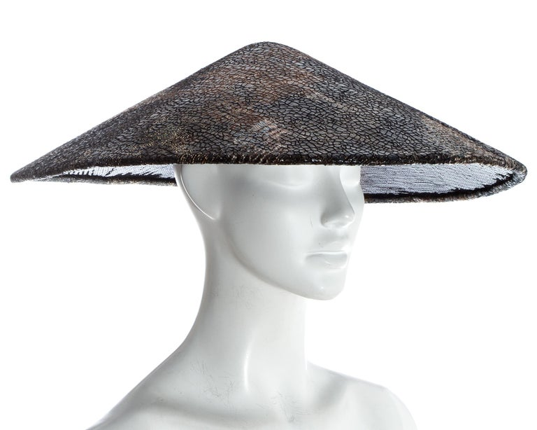 Women's Chanel by Karl Lagerfeld, 'Paris-Shangai' bronze sequin conical hat, pf 2010 For Sale