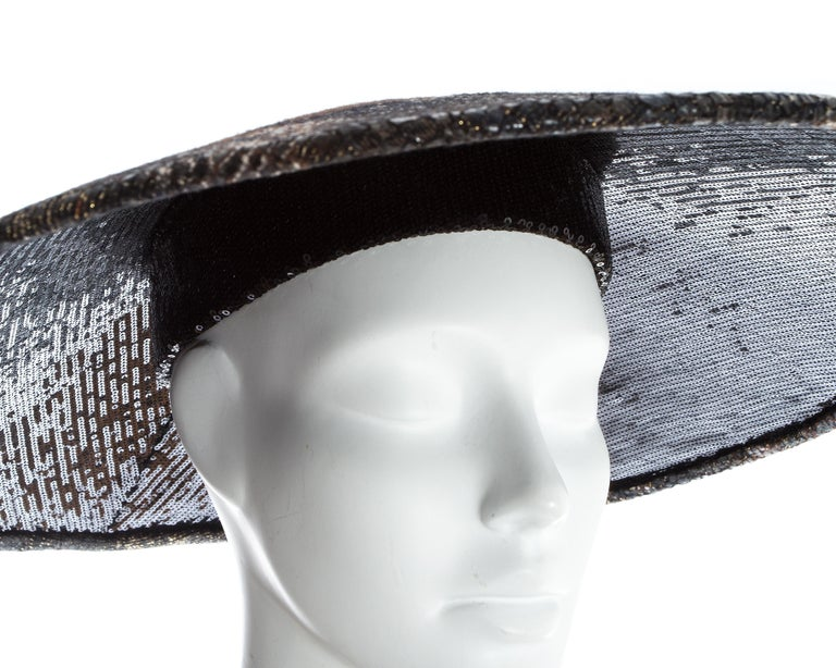 Chanel by Karl Lagerfeld, 'Paris-Shangai' bronze sequin conical hat, pf 2010 For Sale 2