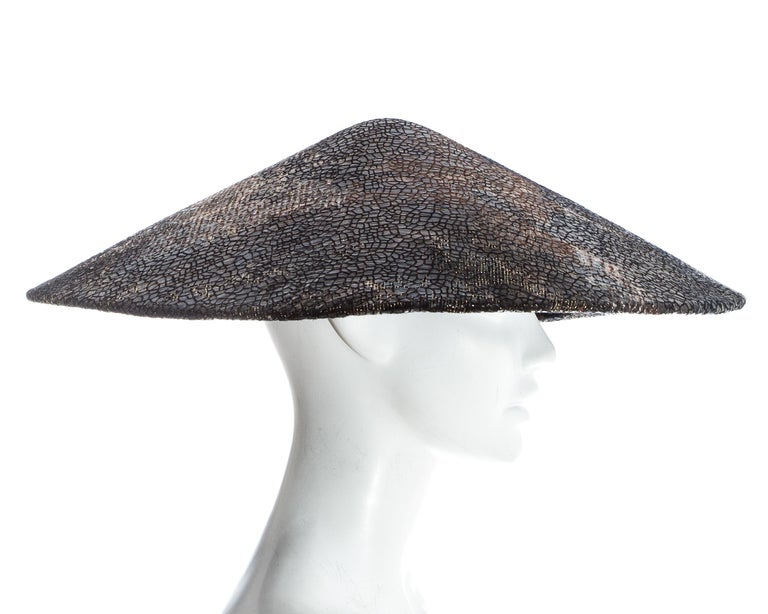 Chanel by Karl Lagerfeld, 'Paris-Shangai' bronze sequin conical hat, pf 2010 For Sale 3