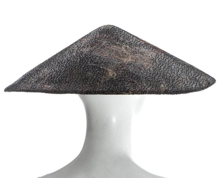 Chanel by Karl Lagerfeld, 'Paris-Shangai' bronze sequin conical hat, pf 2010 For Sale 4