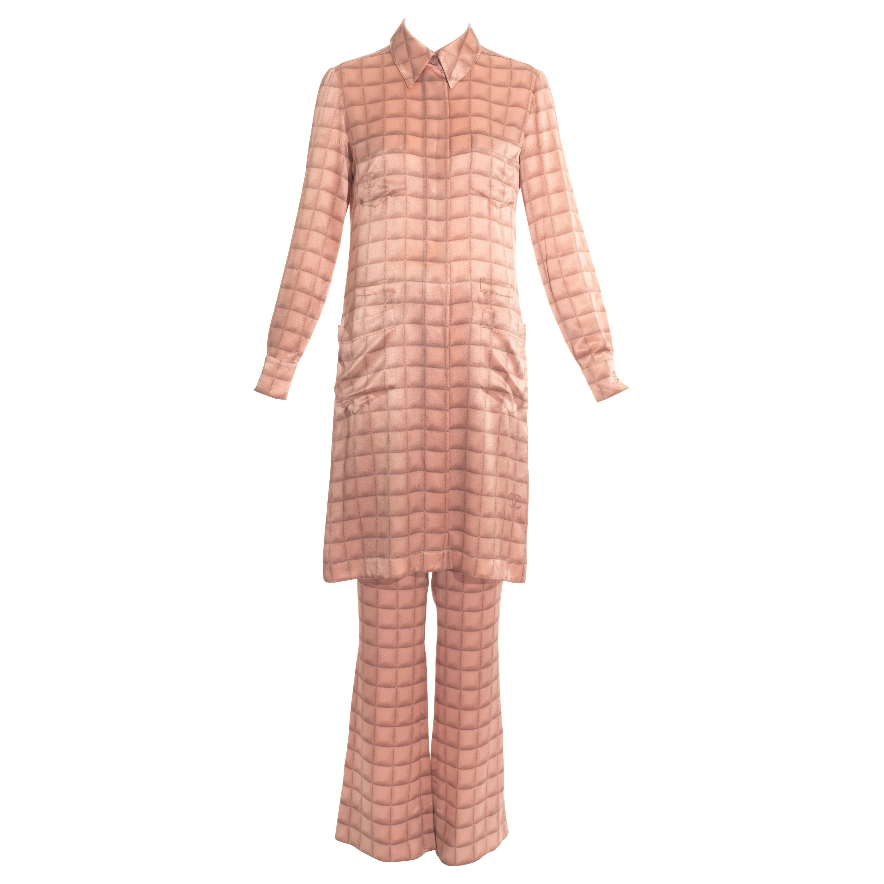 Chanel by Karl Lagerfeld pink silk evening pant suit, fw 2000