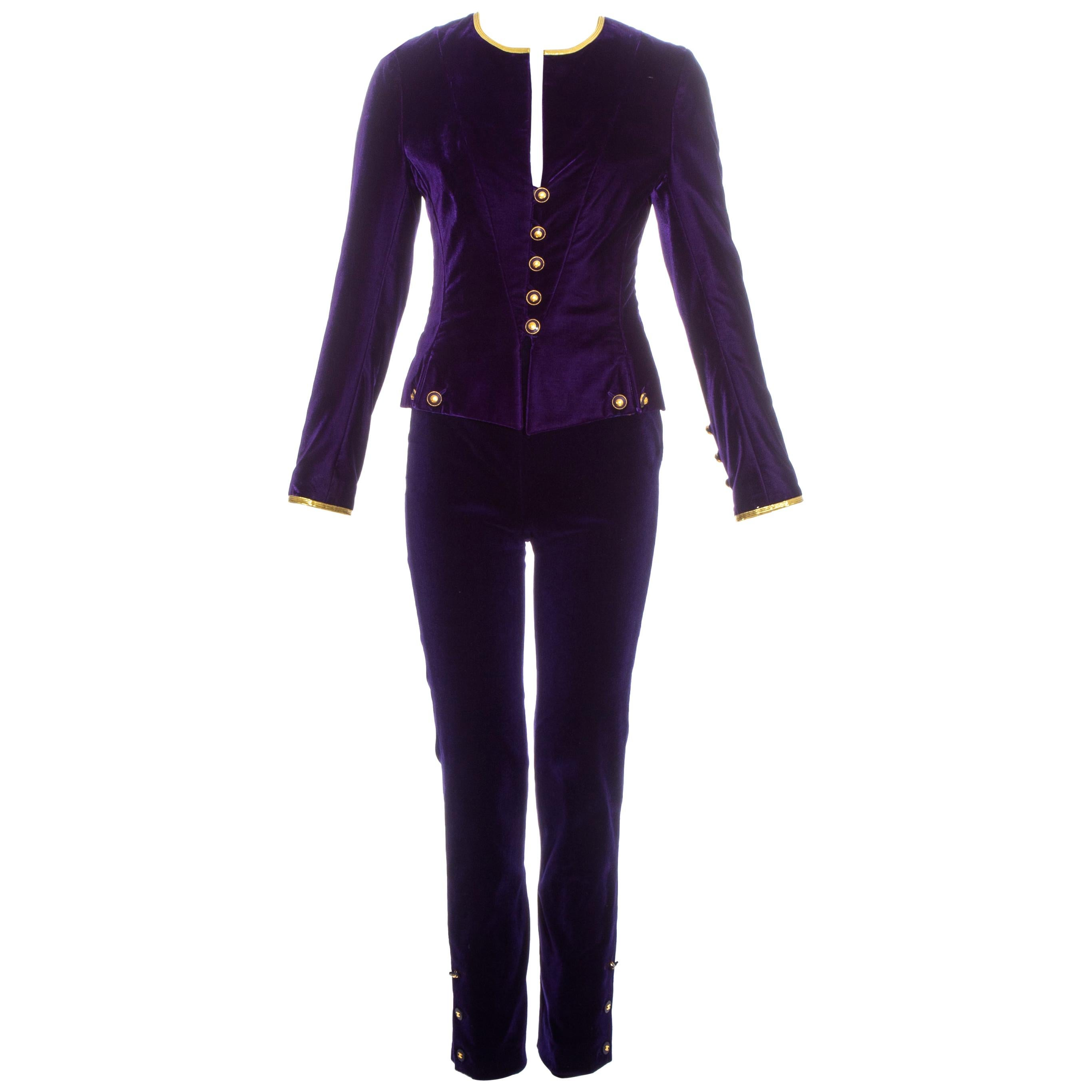 Chanel by Karl Lagerfeld purple velvet pant suit with gold trim, fw 1993